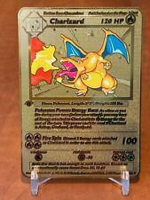 ☆☆☆ Pokemon 1st Edition Charizard (Glurak) Metall Gold Karte English ☆☆☆