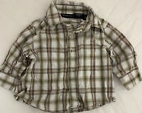 Calvin Klein Jeans Baby 0-3 Month Button Down Long Sleeve White Brown Plaid