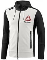 Men's Reebok MMA UFC Blank Walkout Hoodie Pullover AO3495 White Black Size XS