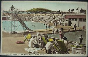c.1950 Rhos On Sea Bathing Pool J Salmon RP Hand Coloured Postcard Denbighshire