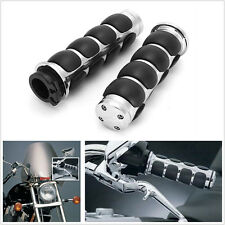 "1"" Chrome Black Motorcycle Bike Handlebar Grips for Honda Suzuki Yamaha"