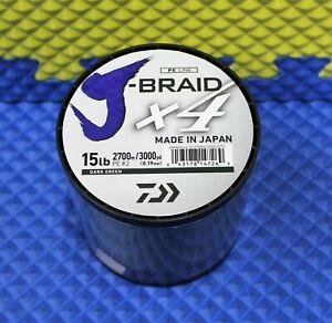 Daiwa J-Braid X4U 15-2700DG Dark Green 15lb 3000yd 4000-2075
