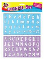 TRTO 2 Peice Large Lettering Stencil Set Upper Lower Case Alphabet Number Stencils Kids
