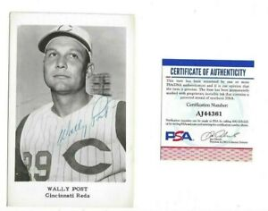 Wally Post Cincinnati Reds Baseball Autographed B&W Postcard Photo PSA COA