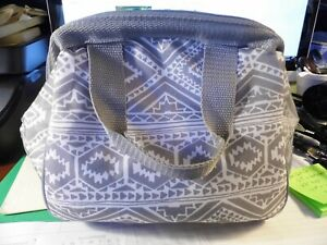 Fit & Fresh Cooler Bag Leftover Tote-Gray & White Geometric  NEW no tags  #PW455