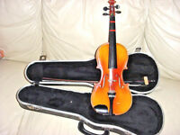 TON KLAR  1/2 SIZE VIOLIN  AND GLASSER BOW GERMAN  WILLIAM LEWIS AND SONS