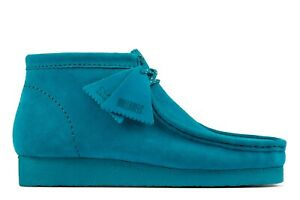 NEW MENS CLARKS ORIGINAL WALLABEE LIMITED EDITION TEAL BLUE SUEDE LEATHER SHOES
