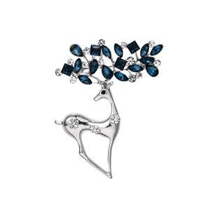 2021 Fashion Silver Crystal Deer Elk Brooch Pin Women Costume Jewelry Xmas Gifts