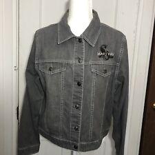 Mary Kay Denim Jacket Size L Black Jean Coat Button Front Light Wash