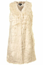 New TOPSHOP faux fur shaggy long line gilet UK 8 in Cream