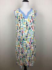 d & Co Beach Womens Knit Dress Shift Geometric Sz M White Blue Red Green Yellow