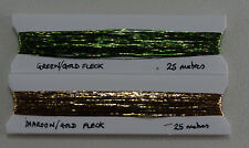 GOLD FLECK FLAT THREAD SPECIAL TWIN PACK. 50M 2x25M EA MAROON & GREEN GOLDWORK