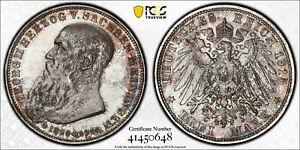 1915 Saxe-Meiningen 3 Mark PCGS MS65+ Death of Herzog