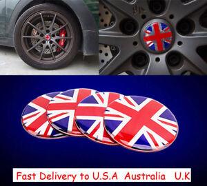 56mm Red Union Jack UK 3D Metal Wheel Center Hub Cap Sticker Emblem Decal Badge