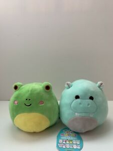 """Squishmallow 5"""" Flip A Mallow Wendy The Frog & Hank The Hippo Rare NWT Fast Ship"""