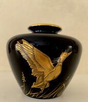 """Vintage Rosenthal Kunstabteilung Selb Germany Cobalt Glazed Gold Designed 3""""Vase"""