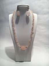 "Ideal Gift New Genuine 16"" Rose Quartz & Silver 925 Necklace & Drop Earrings Set"