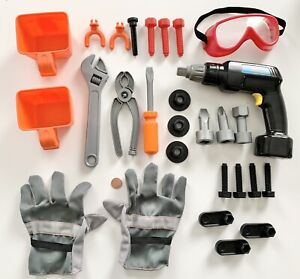 Mixed Lot of TOY TOOLS Electric Screwdriver Drill Nuts Bolts Pliers Gloves GUC!