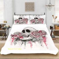 Skull Floral Single/Double/Queen/King Bed Quilt/Doona/Duvet Cover Set Linen