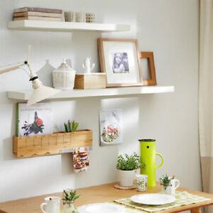 30-60cm White High Gloss Floating Wall Shelf Bookcase Storage Unit Shelving Rack
