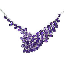 NATURAL AAA PURPLE AMETHYST OVAL FACET STERLING 925 SILVER FLOWER NECKLACE 18.5