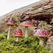 4pc Rosso Fungo ovolacci resina Fata Decorazione Giardino Decorazioni Da Giardino Magico