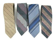 Damon Mens Necktie Lot of 4 Designer Tie Striped Blue Brown L-54 57 W-3 NWOT