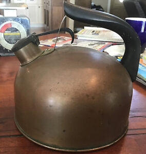 Vintage Solid Copper Revere Ware Whistling Tea Kettle _ Made in Rome ,NY