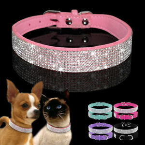 Bling Rhinestone Suede Leather Dog Collars Adjustable for Small Medium Dog Puppy