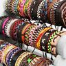 Wholesale lot 20pcs Mix Style Genuine Handmade Leather Cuff Bracelet Wristband