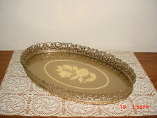 "VINTAGE OVAL 13 1/2"" FILGREE FLOWER DESIGN VANITY TRAY/ROSE GLASS/CLEARANCE"