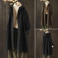 ZANZEA Womens Casual Loose Corduroy Hooded Trench Coat Hoodies Outwear Cardigan