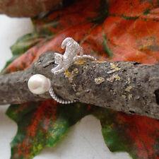 Katze mit Perle, Ring, 16,5 mm - 18,0 mm größenverstellbar, Silber plattiert neu