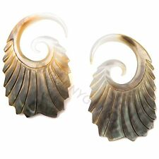 12G Pair Black Mother of Pearl Double Feathered Spiral Gauged Earrings 12 gauge