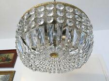 Großer Korblüster,Plafoniere,Deckenlampe Messing mit Kristallbehang