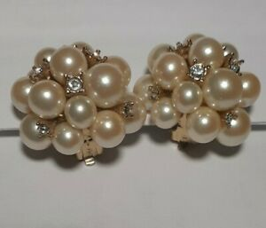 SIGNED Carolee Faux Creamy Pearl and Crystal Cluster Earrings Vintage