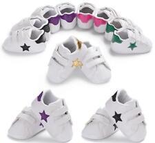 Newborn Baby Boy Girl Star Pre Walker White Crib Shoes Soft Sole Sneakers 0-18 M