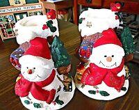 Set of 2 Snowman Candle Holder (Votive Stick) Red Ceramic Christmas Decor