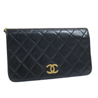 CHANEL Full Flap CC Logos Quilted Chain Shoulder Bag 3679581 Purse Black 38899