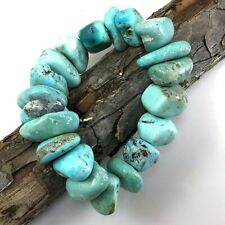 Blue Turquoise Bracelet Rough Nugget Beads Stretch Healing Gemstone Kingman8.5""