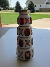 Ornate German White Cut To Ruby Glass Windows Mouth Blown Hand Cut Vase