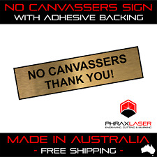 NO CANVASSERS - GOLD SIGN - LABEL - PLAQUE w/ Adhesive 80mm x 20mm (8CM x 2CM)