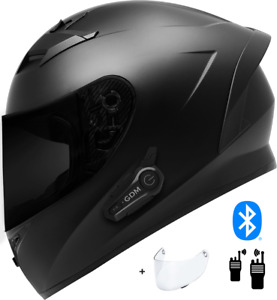 2021 GDM Venom Motorcycle Helmet with Intercom Bluetooth Headset + Smoked Shield