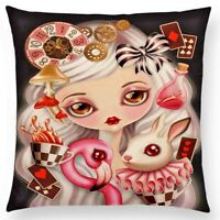 AUS SELLER -  CUSHION COVER - ALICE IN WONDERLAND no.2 polyester..45 x 45cm  new