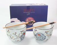 Quality Japanese Dinnerware Set White Crane Porcelain Bowls w Chopsticks Utensil