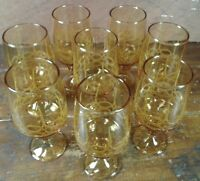 Set of 8 Wine Glasses Amber Brown Gold Glass Footed Stemware Raised Design