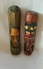 2 Vintage Tiki Wood Hand Carved Statues