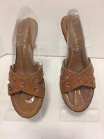 Antonio Melani Tan Leather Sandal Heels Size 8.5 Medium Excellent Condition