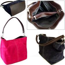 Bright Pink Italian Real Suede Leather Shoulder Handbag Ladies Tote Weekend Bags