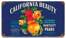Vintage Bartlett Pears California Beauty Fruit Crate Label Metal Sign Decor